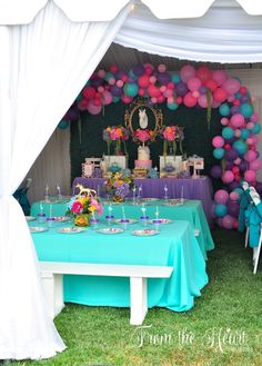 Guest tables from a Rainbow Unicorn Birthday Party on Kara's Party Ideas | KarasPartyIdeas.com (25)