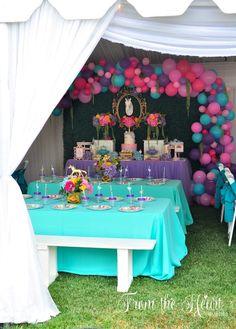 Guest tables from a Rainbow Unicorn Birthday Party on Kara's Party Ideas | KarasPartyIdeas.com (25)