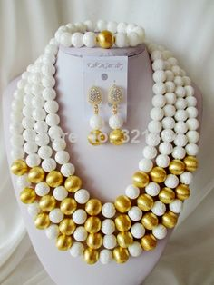 African Beads Giant clam Jewelry Set Nigerian Wedding Jewelry Set Chunky African Jewelry Set Free Shipping CRB-1210 $88.95
