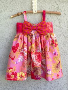 Mustard Yellow Big Bow Dress Baby and Toddler by dreamcatcherbaby