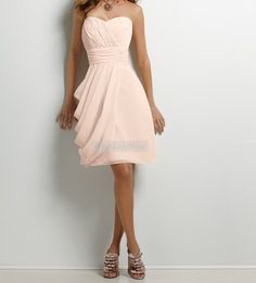 Blush Pale Pink Knee length A-line Dress with Draped Side Available in short, knee and floor lengths on Etsy