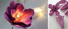 flower lights w/ egg cartons & natural dye, DIY (good gift for Ella)