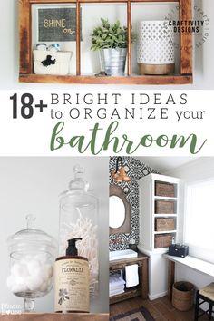 18 Bright Ideas to organize your bathroom. Wall shelves, over the toilet storage, under the sink storage, vanity storage ideas. Eclectic Bathroom, Nautical Bathrooms, Parisian Bathroom, Creative Storage, Storage Ideas, Bathroom Organization, Organization Ideas, Organized Bathroom, Toilet Storage