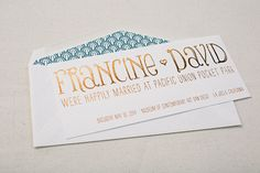 These custom wedding announcements from Smock feature copper shine foil stamping on Smock's white bamboo paper.