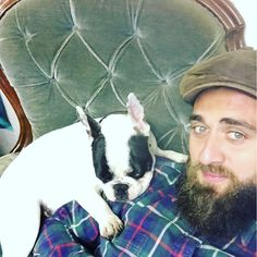This boy decides to fall asleep on my shoulder he is mans best friend keeps me company down the showroom #frenchie #frenchbulldog #puppy #bullylife #bulldog #dog #snoring #beard #selfie #bearded #rochester #kent #cute #nap #mansbestfriend #dogsofinstagram #littlepig #green #batdog #batears by davidjchanning