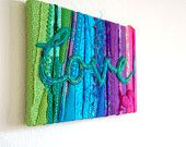 Love - A Mixed Media Textile Stitched Collage with the word Love in turquoise, Stretched on a Canvas Art Frame