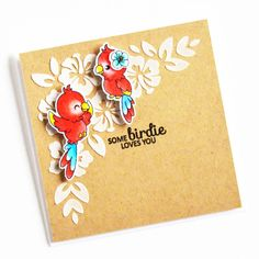 Some Birdie Loves You Crafts For Kids, Diy Crafts, Card Crafts, Small Leaf, Tropical Birds, Mini Heart, Kids Cards, Clear Stamps, Bird Feathers