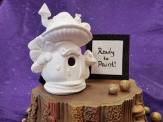 """This cute ceramic bisque is ready to paint and a great DIY project for the kids at home. Fairy House is approximately 6""""T x 4.75W this listing is for non-painted bisque only. Visit www.flamekissedcreations.etsy.com for a full line of high quality, no-fire Duncan and Mayco acrylic paints, brushes, North Canton, Mushroom House, Fairy Garden Houses, Ceramic Bisque, Pottery Painting, Diy Photo, Kids House, Ladybug, Stuffed Mushrooms"""