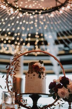Floral wedding cake under glittering fairy lights--magical! See the full dark and elegant styled shoot for more wedding venue and styling inspiration on SingaporeBrides! Waterfront Wedding, Wedding Venues, Wedding Desserts, Wedding Cakes, Table Centerpieces, Table Decorations, Take The Cake, Beautiful Moments, Dessert Table