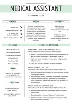 Medical assistant Resume Template Beautiful Medical assistant Resume Sample & Writing Guide are hard to find right out of Grad School let Us Help You Get your First Job in the Medical Industry! Medical Assistant School, Office Assistant Jobs, Nursing Assistant, Physician Assistant, Nursing Career, Medical School, Nursing Goals, Nursing Resume, Interview