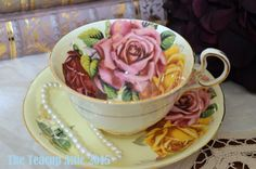Aynsley Yellow  Teacup and Saucer Set with Large Pink and Red Roses, English Teacup, Wedding Gift, c. 1926-1934