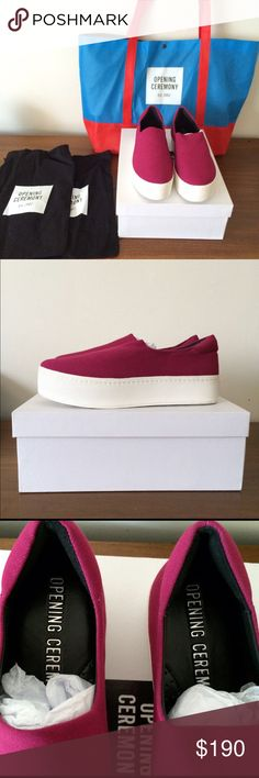 OPENING CEREMONY raspberry sneakers LAST CALL and open to offers.♦️I now have an E B sale from canada who is late to pay -- so they are still up for grabs. Opening Ceremony Shoes Platforms