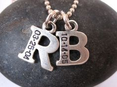 Mothers Day Gift; Initial of Children's First names with DOB engraved  - Click image to find more Kids Pinterest pins