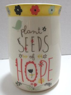 This inspirational tumbler encourages you to plant seeds of hope! The floral theme and light colors make it appealing to the eye! PLANT SEEDS OF HOPE. Toothbrush And Toothpaste Holder, Floral Theme, Planting Seeds, Tumblers, Light Colors, Encouragement, Inspirational, Bath, Mugs