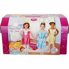 Disney Princess Dress up Trunk by CDI Toys. $59.99. Includes Sleeping Beauty Tiara, Sleeping Beauty Shirt & Sleeping Beauty Skirt, Reversible Headband, Belle Shirt, Belle Skirt, Cindrella Shirt, Cindrella Skirt, Cindrella Tiara, Earrings, Necklace, Shoes, rings and storage Trunk