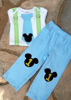 Baby Mickey Mouse 1st Birthday Tie Suspender by shopantsypants