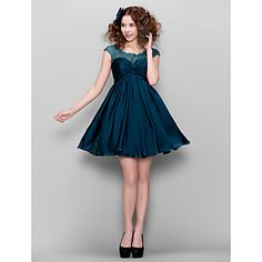 Homecoming Cocktail Party Dress - Ink Blue A-line Jewel Short/Mini Satin Chiffon – USD $ 99.99