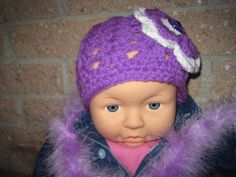 Hat DEEP LILAC with WHITE Crochet for Baby Girl by ElsaLAbbe.