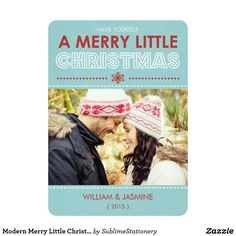 Modern Merry Little Christmas Photo Flat Card Blue