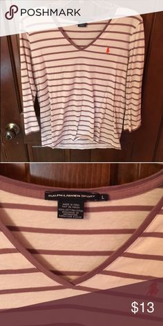 3/4 polo striped v neck shirt Great condition Polo by Ralph Lauren Tops Tees - Long Sleeve