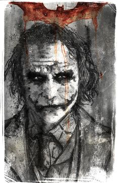 The Joker by Devin Lee Francisco / Watercolor pencil, watercolor and white paint marker - Contrast, color & level corrections done in Photoshop