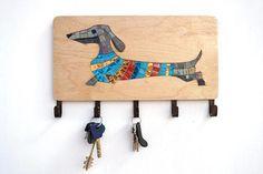 Mosaic dachshund key holder leash holder leash hanger key