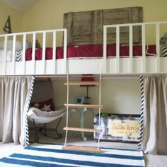 loft bed with rope ladder and curtain