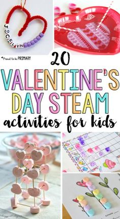 20 Valentine's Day STEAM activities for kids they will love! Includes valentine arts & crafts, sight word and candy heart activities, hands-on math and science experiments, and other learning ideas for February.