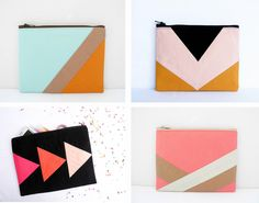 Fun, bold, geometric patterned bags by French shop Pamplemouss are perfectly on trend and have a retro feel.