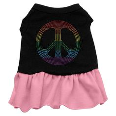 Mirage Pet Products Rhinestone Rainbow Peace 20-Inch Pet Dress, 3X-Large, Black with Pink -- For more information, visit now : Dog Dresses
