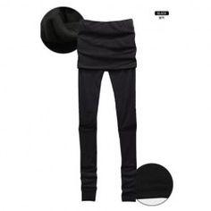 Fashion Skirt Style Black Lycra+Cotton Long Leggings For Women