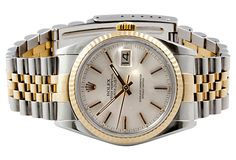 1970s - '80s Rolex Datejust two-tone automatic men's watch with yellow gold fluted bezel, acrylic crystal, screw down crown and silver dial with index hour markers // OneKingsLane.com