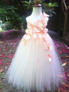 Orchid/beige flower girl dress by lluviaBoutique on Etsy