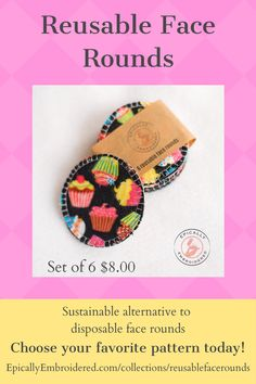 Reusable face rounds bring sustainable living to your home with a little cheer for your daily facecare routine. Sustainable alternative to expensive make up remover wipes, cotton face rounds or cotton balls. Gently scrub your face, apply toner, remove your eye makeup and more. #reusablefacerounds #sustainableliving #ecofriendly #ecofriendlygifts #reusablerounds