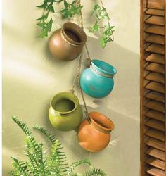 Old Pottery Rope Hanging Cooking Planter Pots Kitchen Garden Wall Accent Decor picclick.com