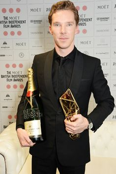British Independent Film Awards (December 7, 2014) ~ Benedict Cumberbatch with Moet champagne bottle (the awards' sponsor) and his Variety Award.