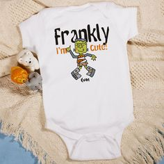 Frankly I'm Cute Personalized Halloween Infant Baby Creepers. Let everyone know your little one is Frankly the Cutest Baby Around with our Custom Printed Frankly I'm Cute Halloween Creeper. A fun, personalized creeper which is perfect for a festive Halloween party or a day of Trick or Treating. Our Personalized Halloween Creeper is available on our premium 5oz, 100% white cotton Personalized Infant Creeper with crew neck, double-needle hemmed sleeves