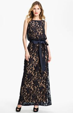 For a black tie wedding? Comfortable, modest, and dressy... Tadashi Shoji Lace Overlay Blouson Gown available at #Nordstrom