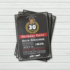 Printable Chalkboard Adult Beer Birthday by ThePaperWingCreation, $15.00