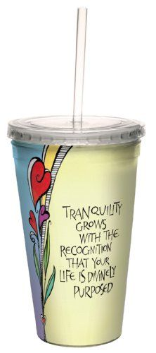 TreeFree Greetings cc33945 Tranquility Grows by Joanne Fink Artful Traveler DoubleWalled Cool Cup with Reusable Straw 16Ounce