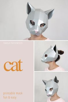 Cat half mask paper animal mask PDF and SVG pattern. Low poly   Etsy Animal Costumes, Cat Costumes, Costume Ideas, Unique Halloween Costumes, Halloween Masks, Paper Face Mask, Bear Mask, Half Mask, Paper Birds
