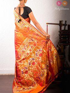 Orange Handwoven Katan Silk Paithani Saree