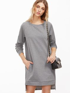 Heather Grey Raglan Sleeve High Low Sweatshirt Dress