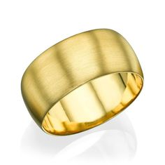 Yellow Gold Men's Wedding Ring - 9.5mm Rounded Brushed Matte Band
