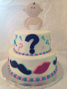Gender Reveal cake Mustache and Lips theme www.cuteandsweetboutique.com
