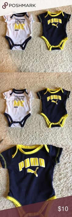 "PUMA 0-3 MONTH LONG SLEEVE ONESIE BOY'S LIKE NEW PUMA ONSIE LONG SLEEVE BOY'S WITH SNAPS. NAVY, WHITE, & YELLOW COMBINATIONS. ""SOCCER MOMS LOVE ME"" & ""PUMA"" GRAPHICS ON FRONT. BUNDLE AND MAKE OFFERS. Puma One Pieces"