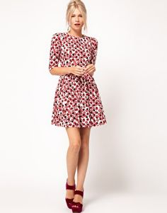 Enlarge ASOS Skater Dress With Kiss Print