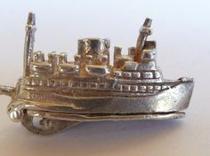 Vintage English Sterling  Silver Charm Ferry Ship Opens To Cars