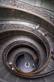 grand spiral stairway in the Vatican...part of the public tour on the way to the Sistine Chapel. I've been there(: