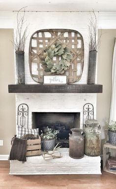 Painted white brick fireplace. Tobacco basket over fireplace. Farmhouse style living room